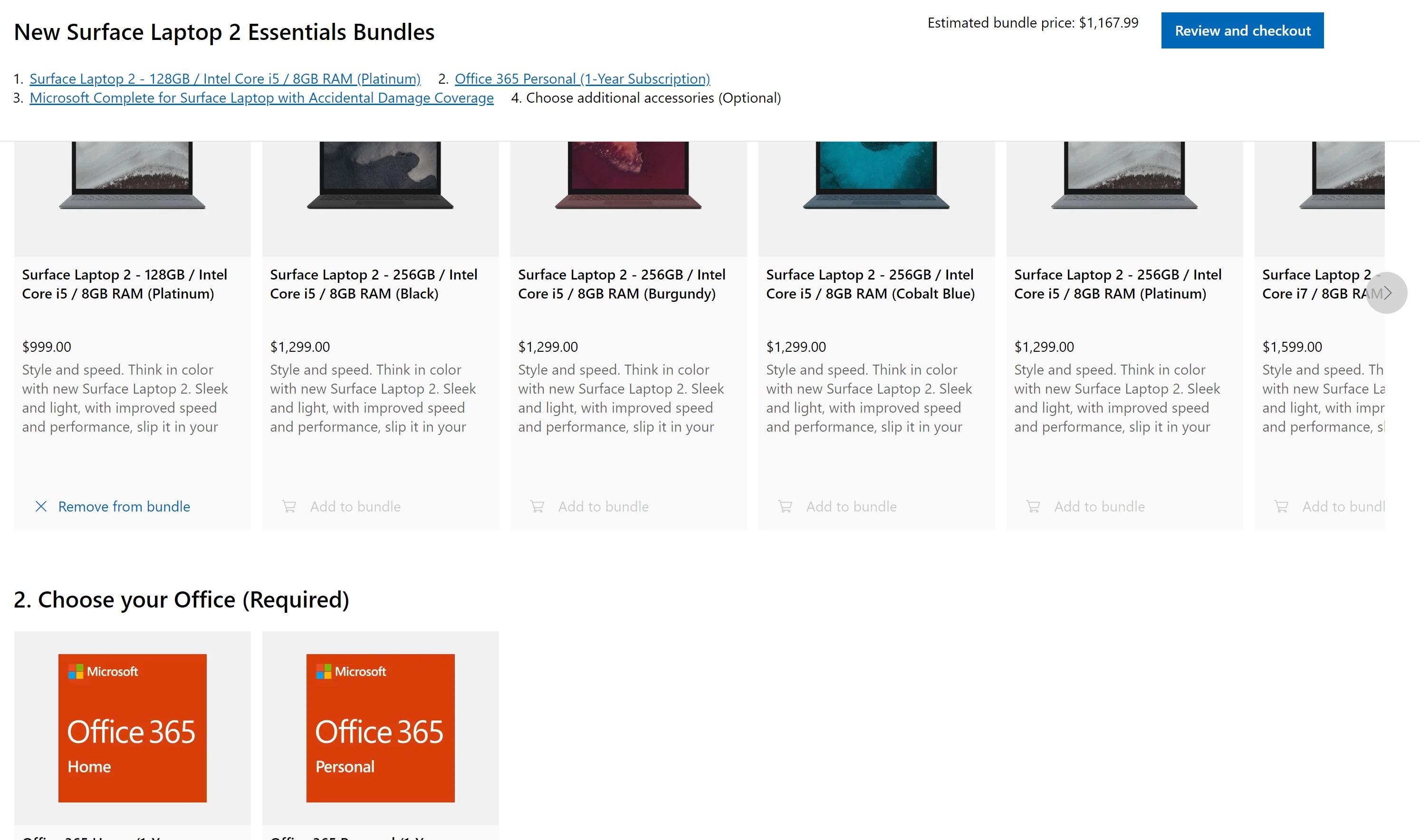 서피스 랩탑 2의 기본 사양 모델을 구매할 수 있지만, 에센셜 번들로만 가능하며 색상은 백금색뿐이다.