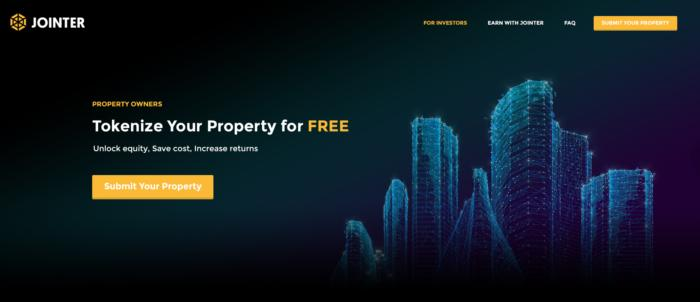 조인터의 웹 페이지. 자산 소유자가 소유한 부동산을 디지털화할 수 있게 한다.